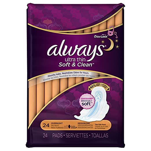 Amazon.com: Always Ultra Thin Overnight Deodorizing Pads With Wings 24 Count: Health & Personal Care