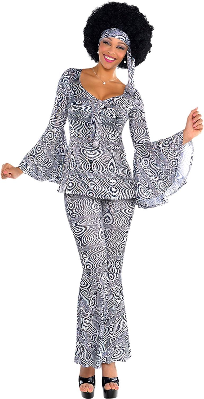 Mujer Disfraz Juego años 60 vestido Pantalones pelo banda Mangas ...