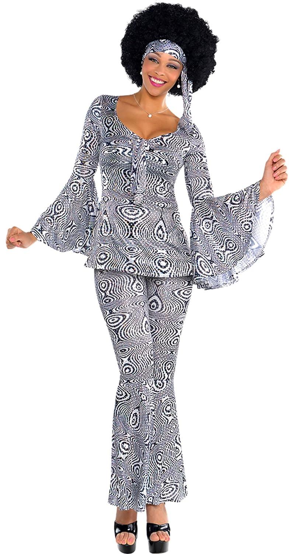 Fancy Ole - Damen Frauen Kostüm Set 60er Jahre Kleid Hose Haarband Fledermausärmel Schlager-Move Festival Hippie, L/XL, Mehrfarbig