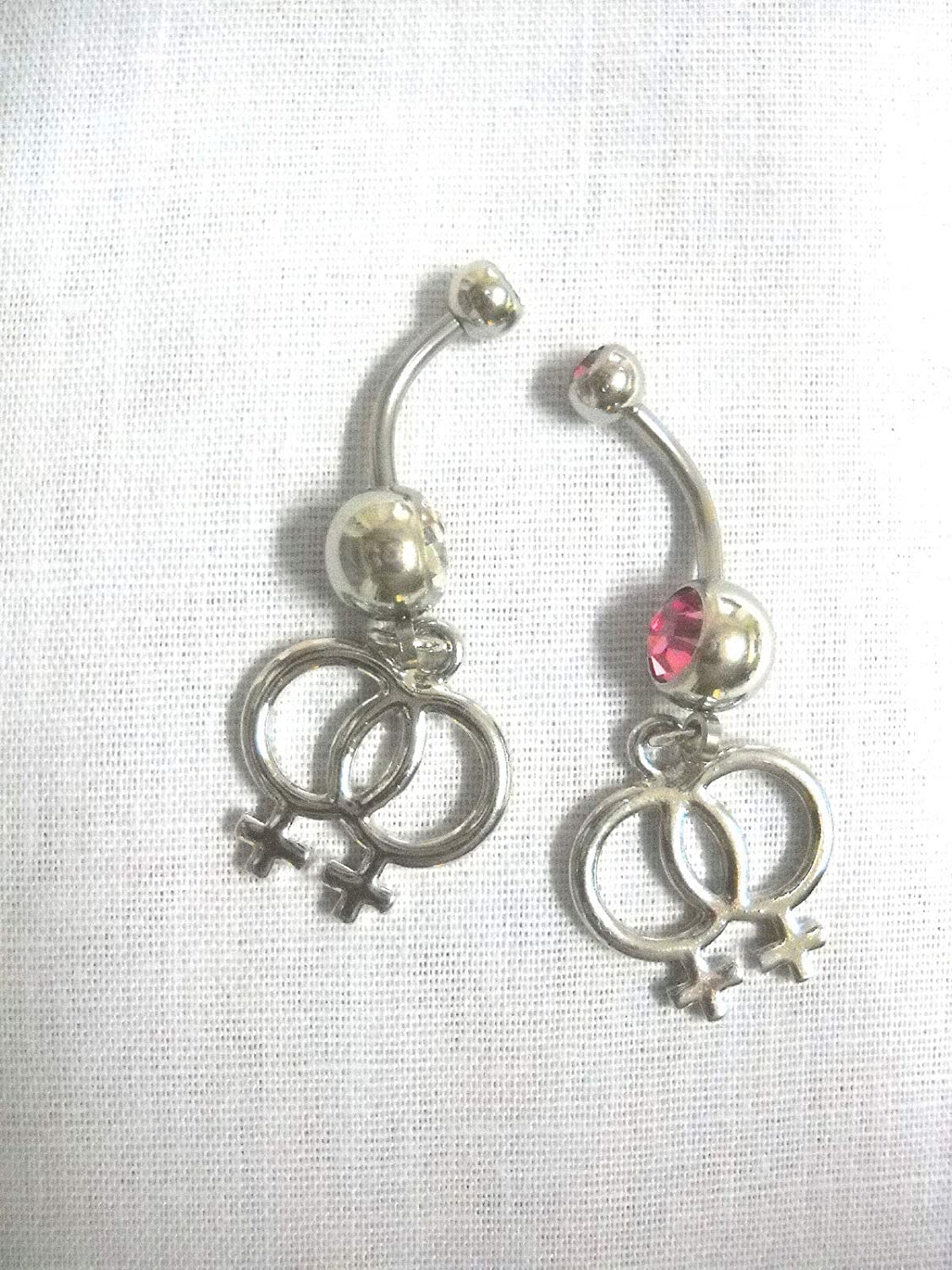 Clear Pink 14g Belly Ring Belly Bars KEZ-3691 2 Lesbian Pride//Charms