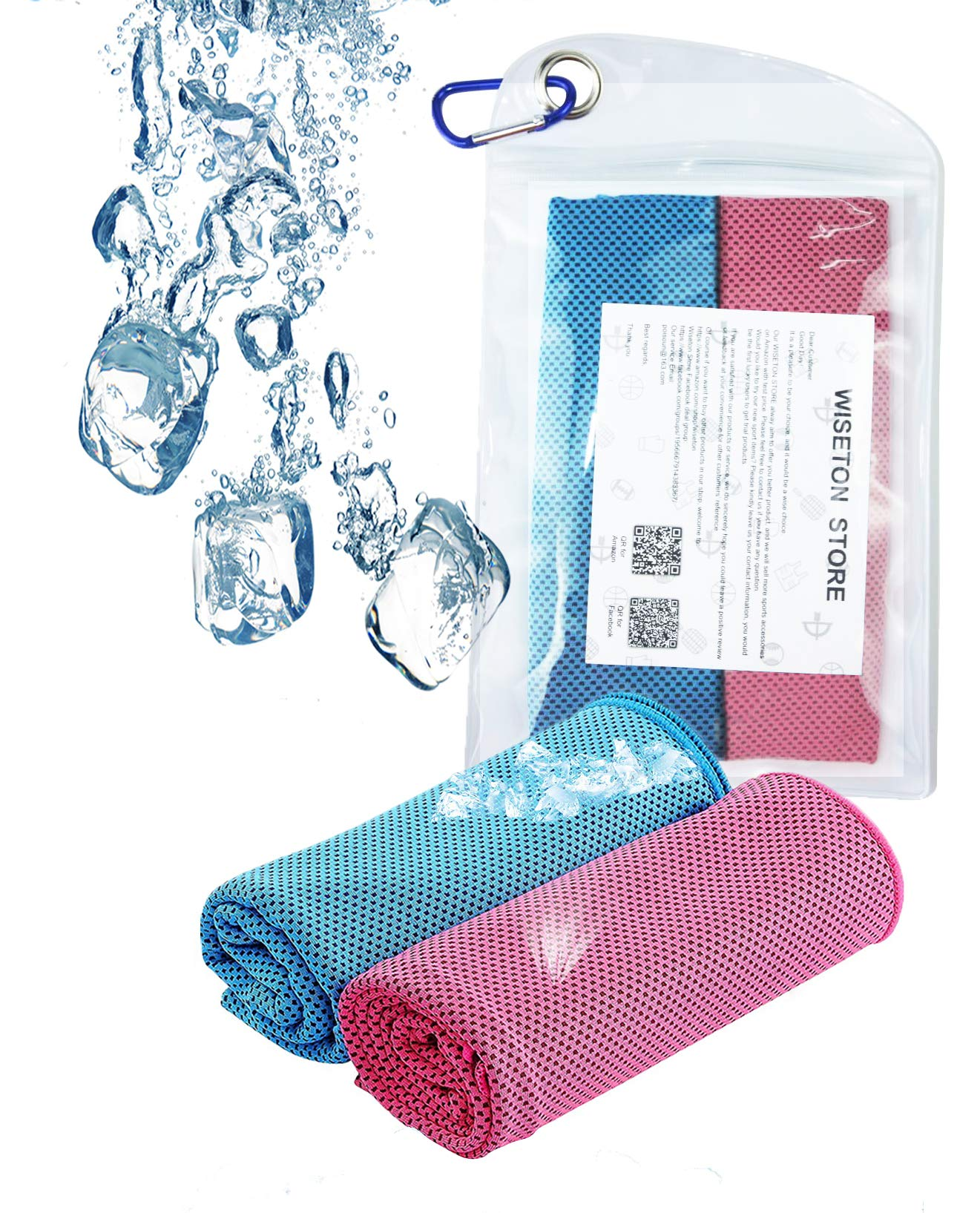 WISETON Cooling Towels,Sports Cooling Towels for Men Women, Instant Relief Breathable Mesh Towels for Golf,Work Out,Fitness,Gym,Yoga,-Set of 2 with a Waterproof Bag and Carabiner