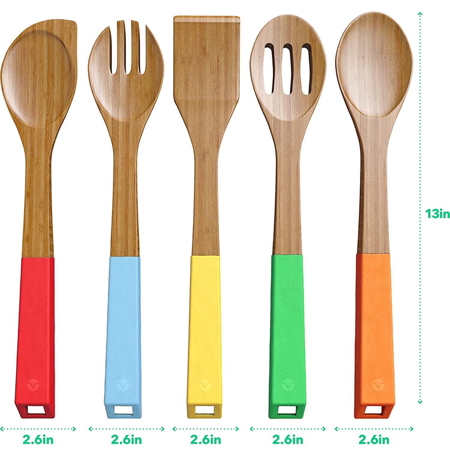 colorful kitchen utensils. Vremi 5 Piece Bamboo Spoons Cooking Colorful Kitchen Utensils T