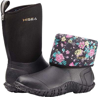 Amazon.com   HISEA Women's Rubber Garden Boots Waterproof Insulated Yard  Gardening Shoes Mid Height for Muck Mud Working Outdoor   Rain Footwear