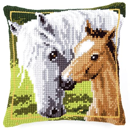 Amazon.com: Vervaco PN-0144668 Canvas Mare & Foal Cushion ...