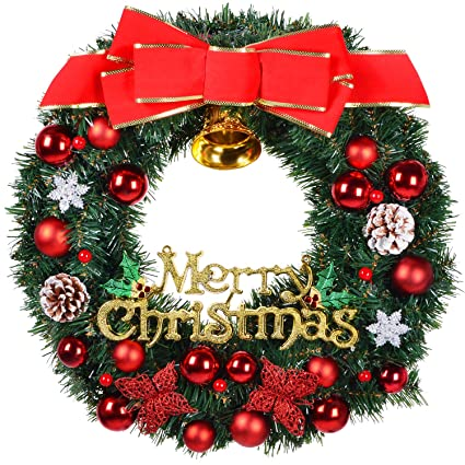 22 Inch Merry Christmas Wreath With Pine Cones,Big Red Bow,Red Berries,