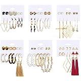 Udalyn Juego de 36 pares de pendientes de moda para mujer, bohemio, pendientes de borla colgantes, aretes de aro de perlas de