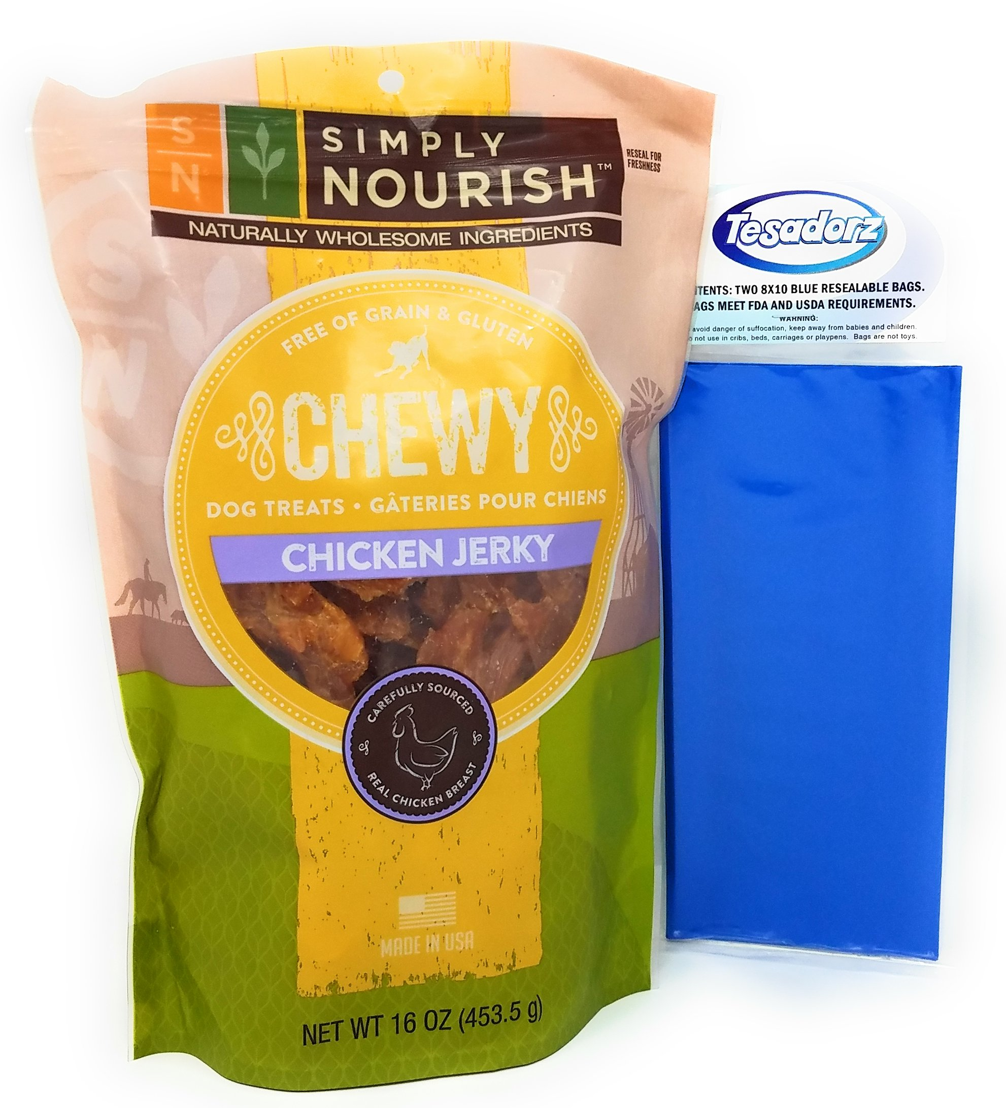 Simply Nourish Chewy Chicken Jerky Dog Treats 16 Ounces and Tesadorz Resealable Bags