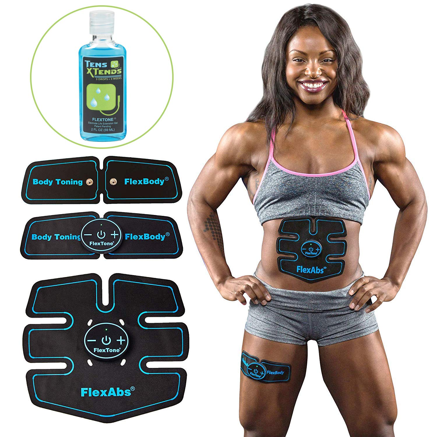 Flextone Abs Stimulator Muscle Toner - FDA Cleared | Rechargeable Wireless EMS Massager for Weight Loss | The Ultimate Electronic Power Abs Trainer for Men Women & Bodybuilders