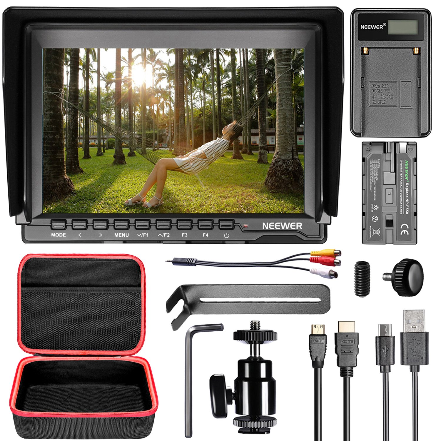 Neewer NW759 Camera Field Monitor Kit:7 inches Ultra HD 1280x800 IPS Screen Monitor,2600mAh F550 Replacement Battery,Micro USB Battery Charger, Carrying Case for Sony Canon Nikon Olympus Pentax DSLRs by Neewer