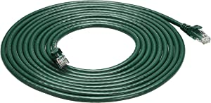 AmazonBasics Snagless RJ45 Cat-6 Ethernet Patch Internet Cable - 15-Foot, Green, 5-Pack