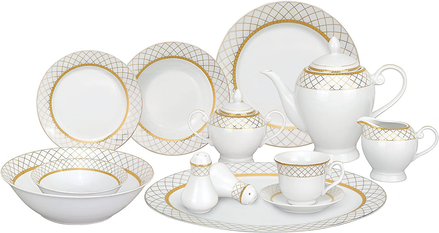Lorren Home Trends 57-Piece Porcelain Dinnerware Set, Beatrice, Service for 8