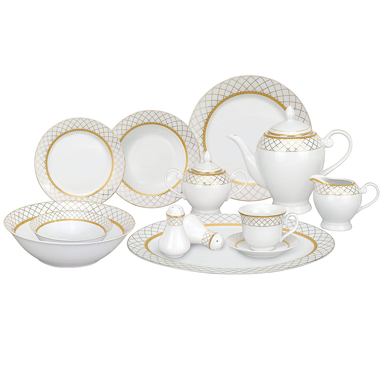 Amazon.com Lorren Home Trends 57-Piece Porcelain Dinnerware Set Beatrice Service for 8 Kitchen \u0026 Dining  sc 1 st  Amazon.com & Amazon.com: Lorren Home Trends 57-Piece Porcelain Dinnerware Set ...