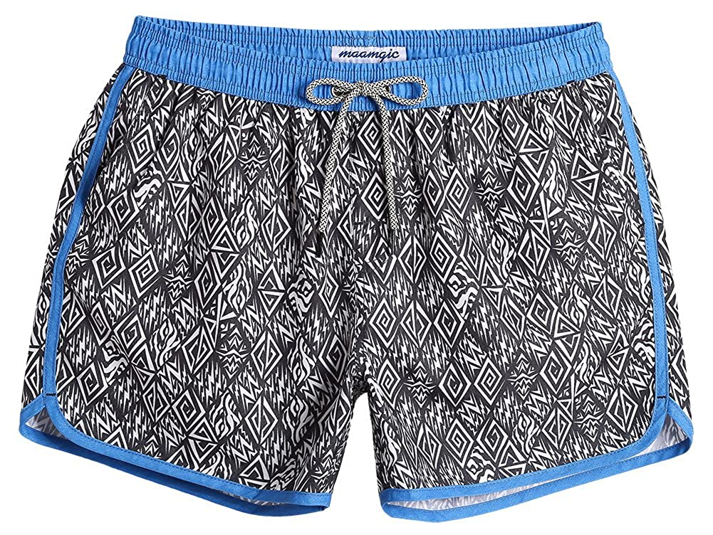 MaaMgic Mens Boys Short 80s 90s Vintage Swim Trunks Mesh Lining 4 Way Stretch Quick Dry Swimming Trunks Bathing Suits 18111854415