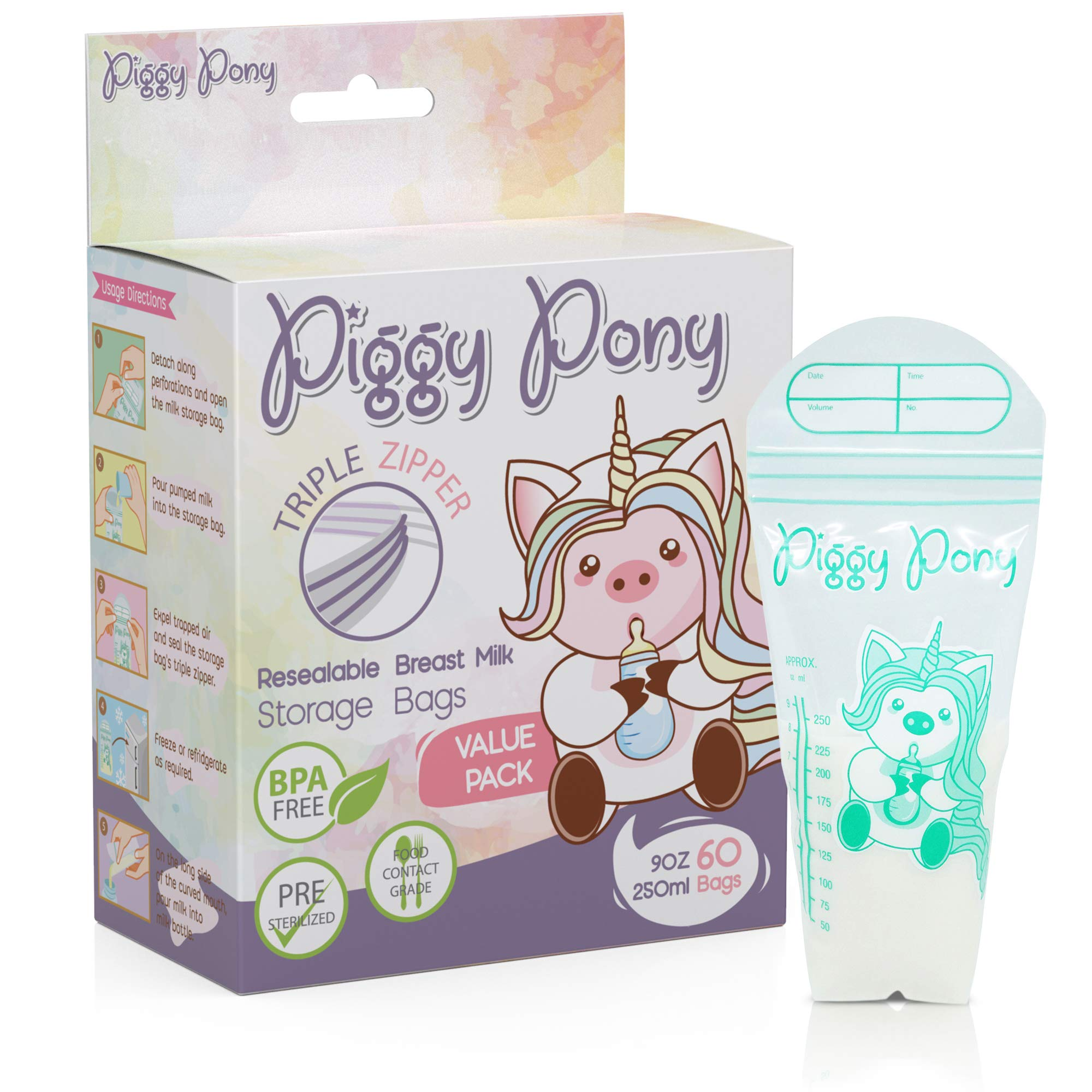 Piggy Pony 9 0z Breastmilk Storage Bags 60 Count Breastfeeding Nursing Triple-Zip Freezer Leak-Proof Resealable Nursing Pump Pouches BPA Free Reusable by Piggy Pony