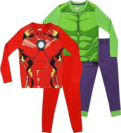 Marvel Pijamas para Niños 2 Paquetes Avengers Multicolor 6-7 Años