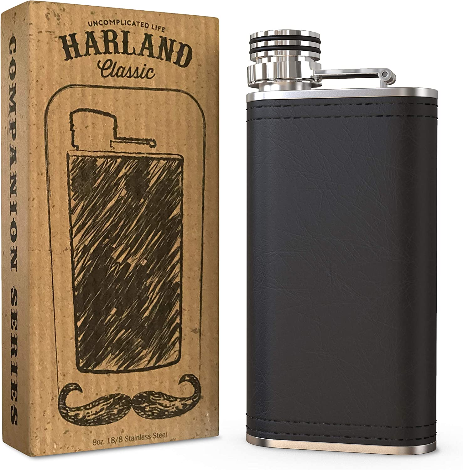 Harland 8 oz Wide Mouth Hip Alcohol Flask | Soft Touch PU Leather wrap 18/8 304 Stainless Steel Metal Highest Food Grade | Best Groomsmen Drinking Gift | Classic Vintage Retro Style