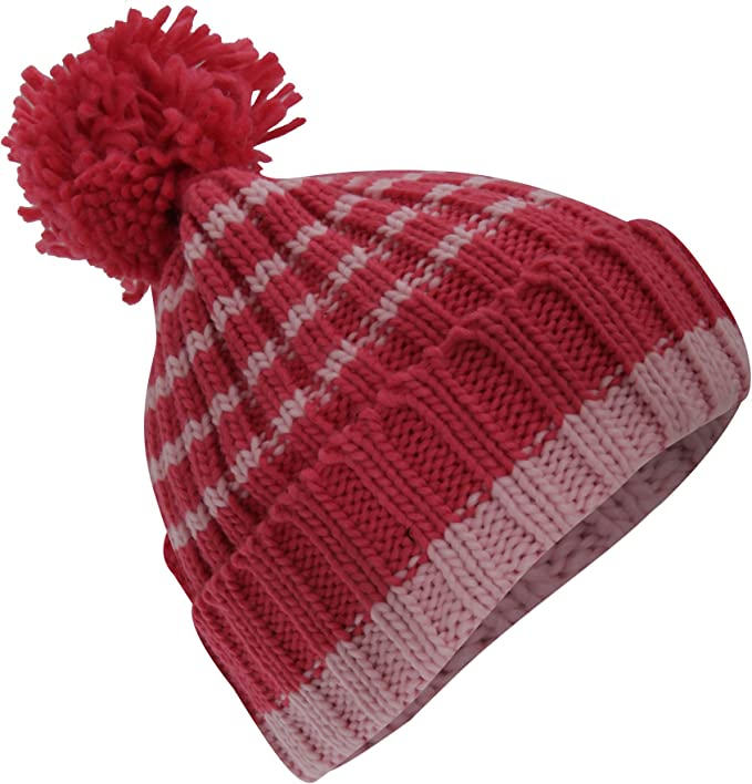 Girls Hat Scarf And Gloves Set Winter Warm Knitted Stripe Toddler Kids 3-6 Years