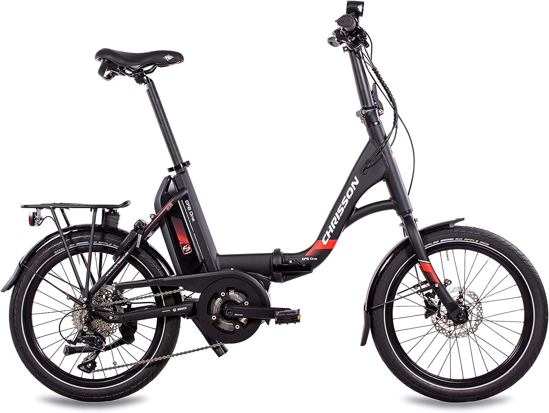 Bicicleta eléctrica plegable de Chrisson, 20 pulgadas, color negro, con motor central Active Line 250 W 40 Nm y 9 marchas Shimano Sora: Amazon.es: Deportes y aire libre