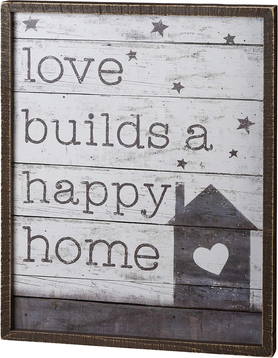 Primitives by Kathy Love Builds a Happy Home - Rustic Farmhouse Decor for The Home Sign - Wall Decorations for Living Room, Kitchen Sign, Farmhouse Country Wall Decor, Rustic Home Decor, Wood Frame