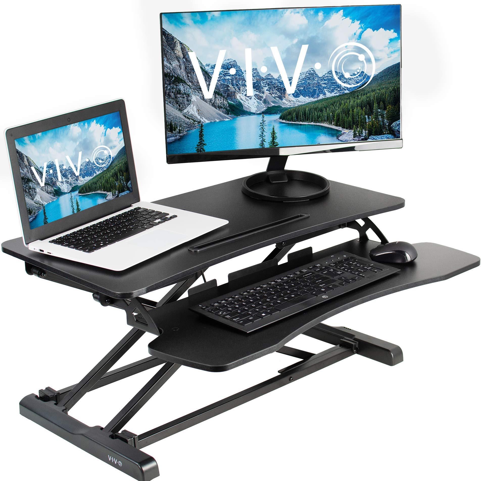 VIVO Black Height Adjustable 32 inch Standing Desk Converter   Sit Stand Dual Monitor and Laptop Riser Workstation (DESK-V000K) by VIVO