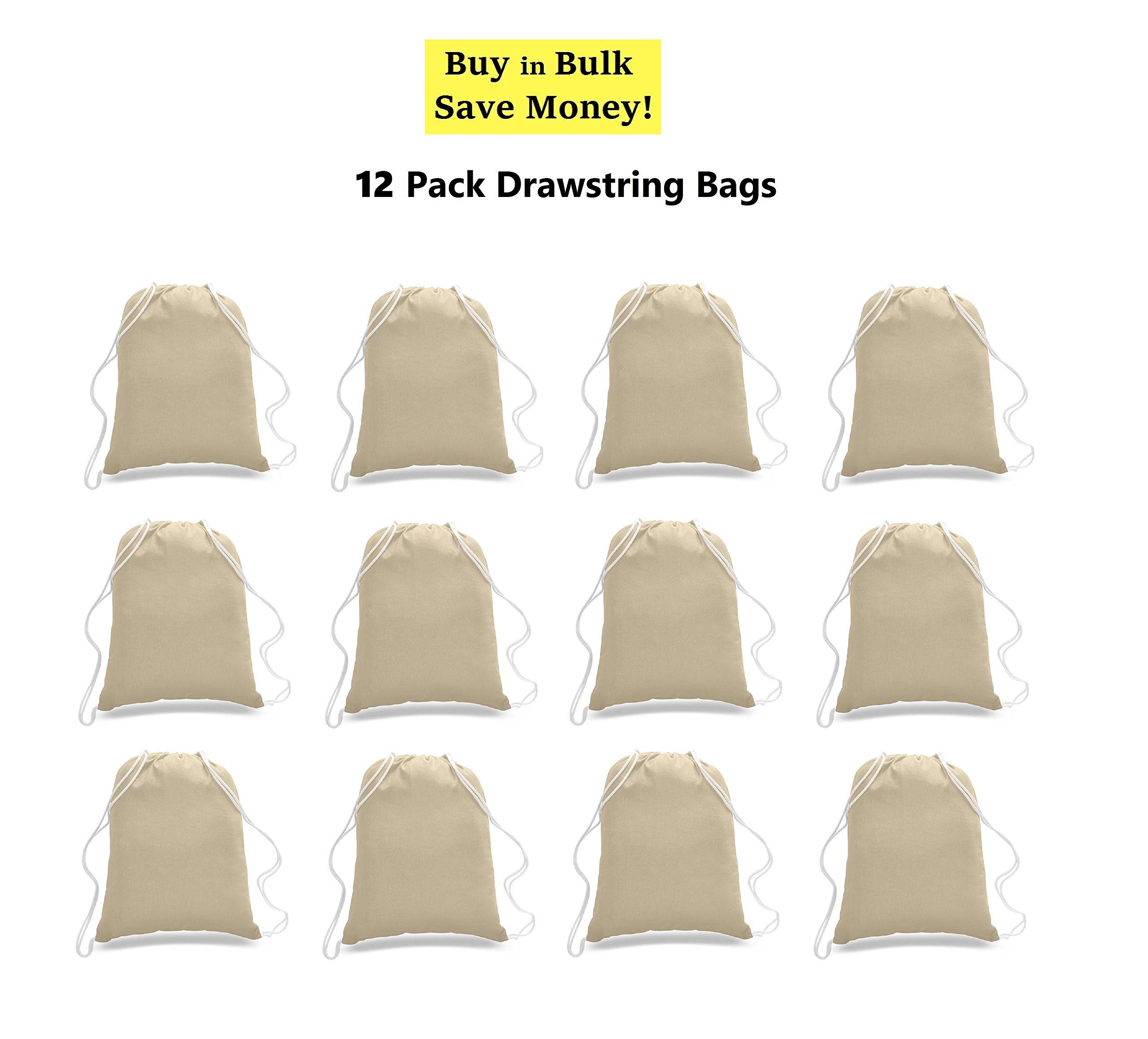 Great Deal! (12 Pack) 1 DOZEN Budget Friendly Sport Drawstring Backpack%100 Cotton Bags for Sport,Gym or Promotional Plain Backpacks (NATURAL)