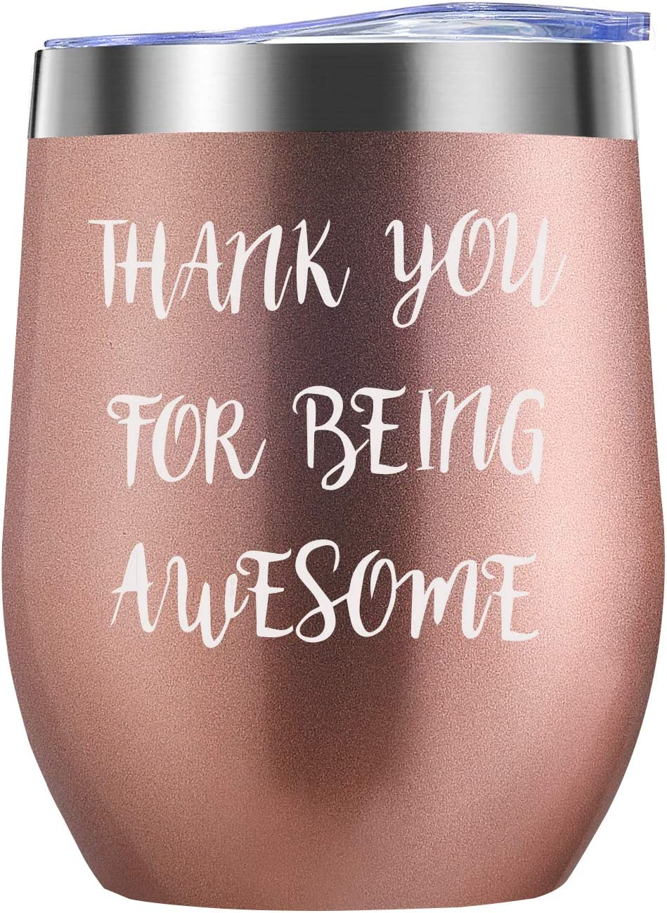 Thank You Gifts for Women 12oz Wine Tumbler- Funny Congratulations,Graduation,Birthday, Appreciation, Friendship, Valentines Day Gifts for Her, Wife, Girlfriend, Mom, Coworker, Employee, Friends
