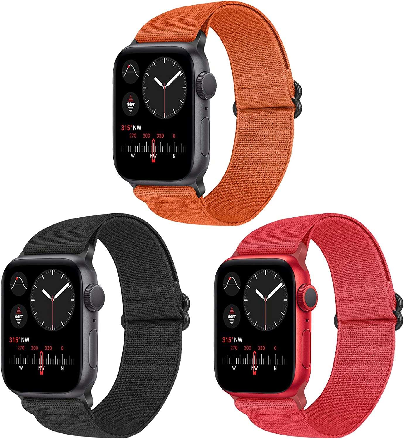 Vodtian Nylon Loop Elastic Watch Band Compatible with Apple Watch 38mm 40mm, Women Men Stretchy Adjustable Replacement Sport Straps for iWatch Series 6/5/4/3/2/1/SE (Black+Red+Orange, 38mm/40mm)