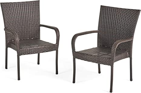 Amazon Com Christopher Knight Home Ckh Outdoor Wicker Stackable Club Chairs 2 Pcs Set Multibrown Patio Chairs Garden Outdoor