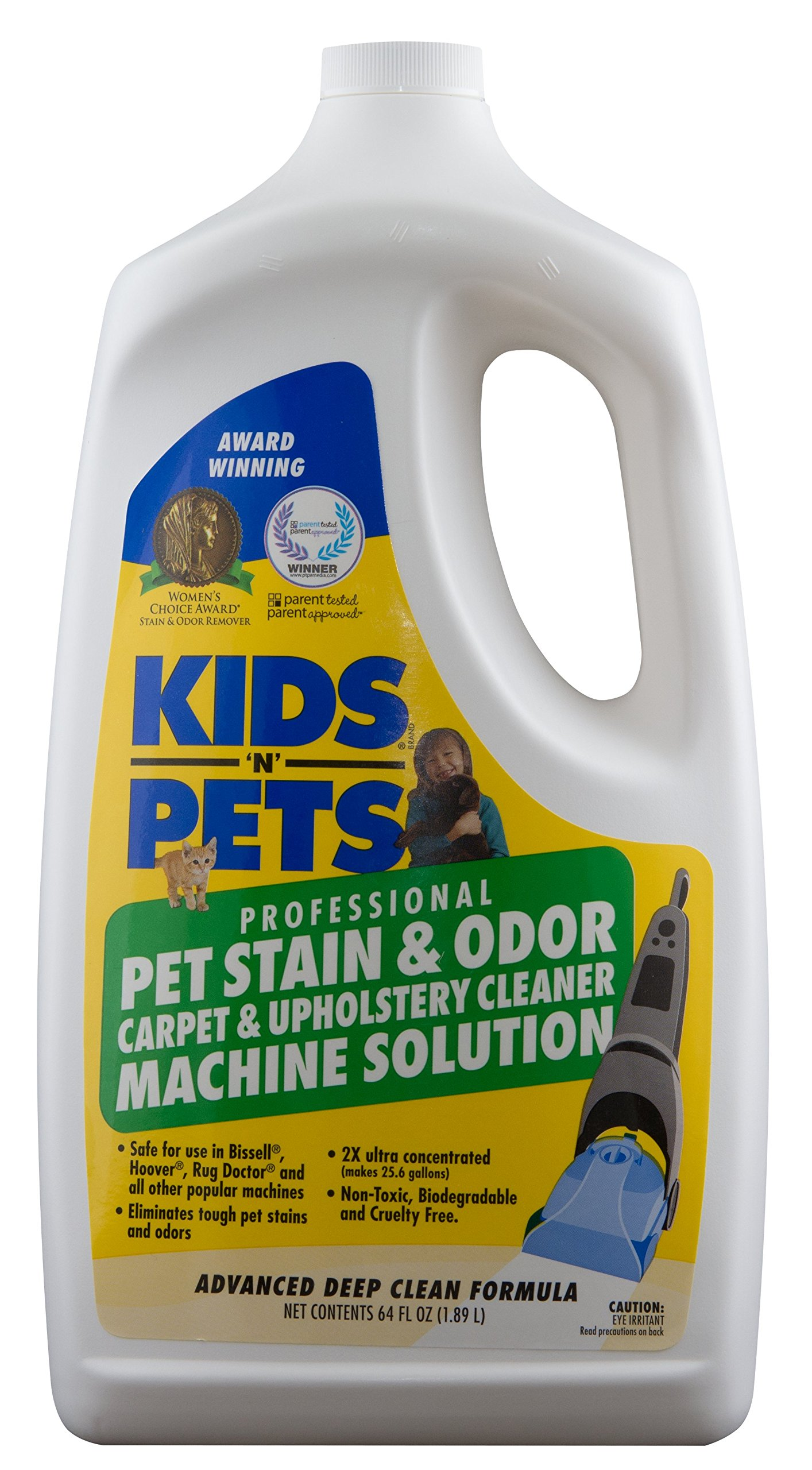 Kids 'N' Pets - Pet Stain & Odor - Carpet & Upholstery Cleaner Machine Solution – 64 oz | Professional Strength Formula Deeply Cleans Carpet & Upholstery | Non-Toxic & Child Safe