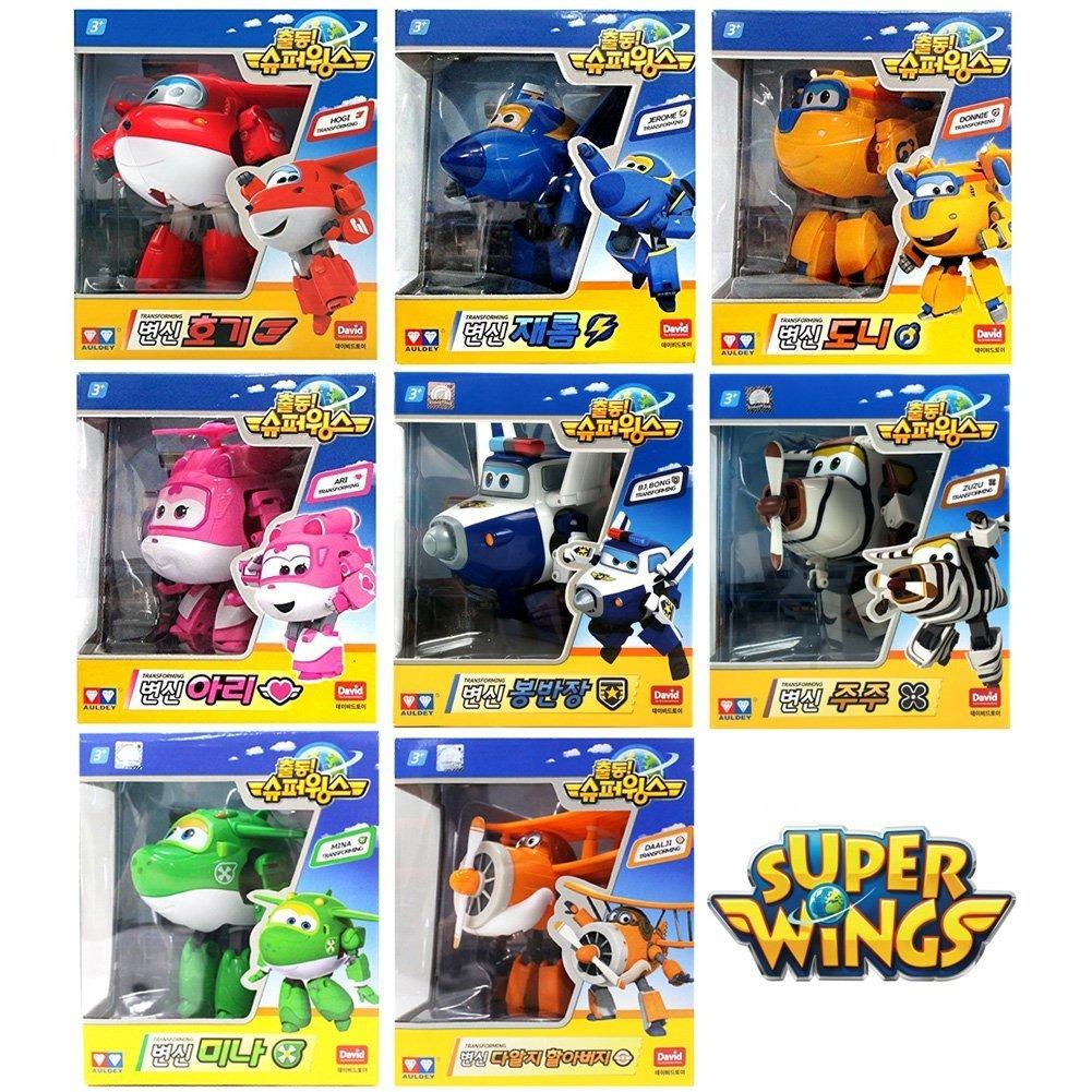 [8 [8 [8 Pcs SET] Super Wings Transforming planes series animation by David Toy (Hogi + Ari + Mina + Donnie + Jerome + BJ Bong + ZUZU + Grand Albert) 9a34aa