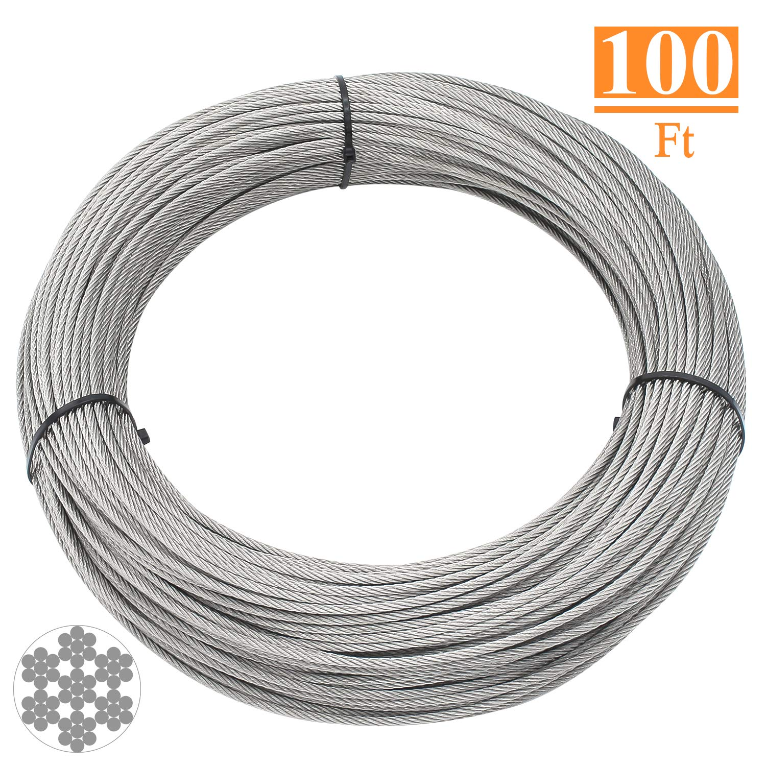 HELIFOUNER T316 Marin Grade 1/8 inch Stainless Steel Aircraft Wire Rope Cable for Railing, Decking, DIY Balustrade, 100 Feet by HELIFOUNER