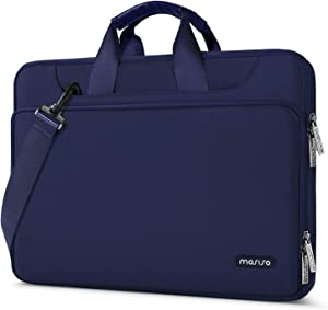MOSISO 360 Protective Laptop Shoulder Bag Compatible with 13-13.3 inch MacBook Air, MacBook Pro, 13.5 Surface Laptop, Surface Book, Water Repellent Sleeve Case with Trolley Belt, Navy Blue