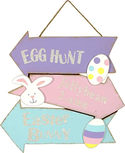 Easter Egg Wall Hanging Egg Hunt Jellybean Lane Easter Bunny Sign Toys Games