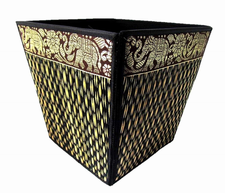 Mongkol Brand Small Decorative Wicker Elephant Paper Waste Basket Bin For Office Bedroom Bathroom Car 8'' (Midnight)