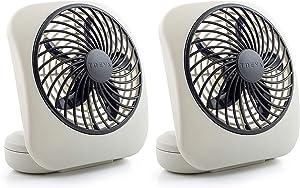 O2COOL Treva 5-Inch Portable Desktop Air Circulation Battery Fan | 2 Cooling Speeds, Compact Folding & Tilt Design, 2 Units, Grey