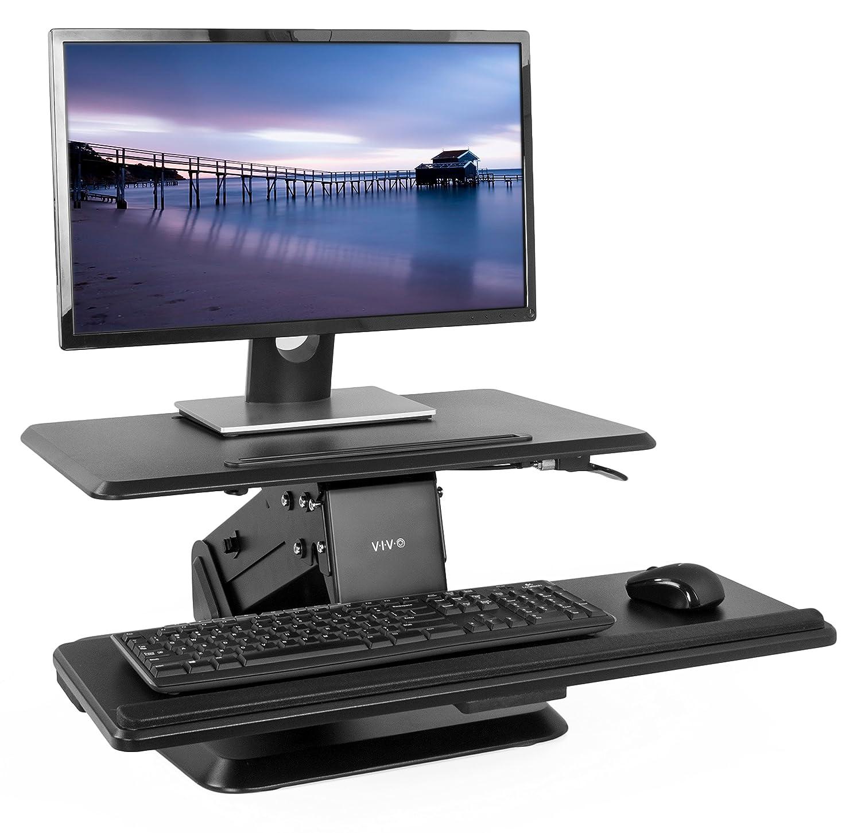 "VIVO Small Height Adjustable Standing Desk Gas Spring Monitor Riser - 24"" Tabletop Sit to Stand Workstation (DESK-V011G)"