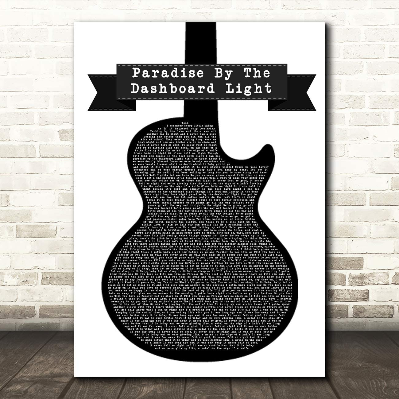 Paradise by The Dashboard Light Black & White Guitar Song Lyric Music Print