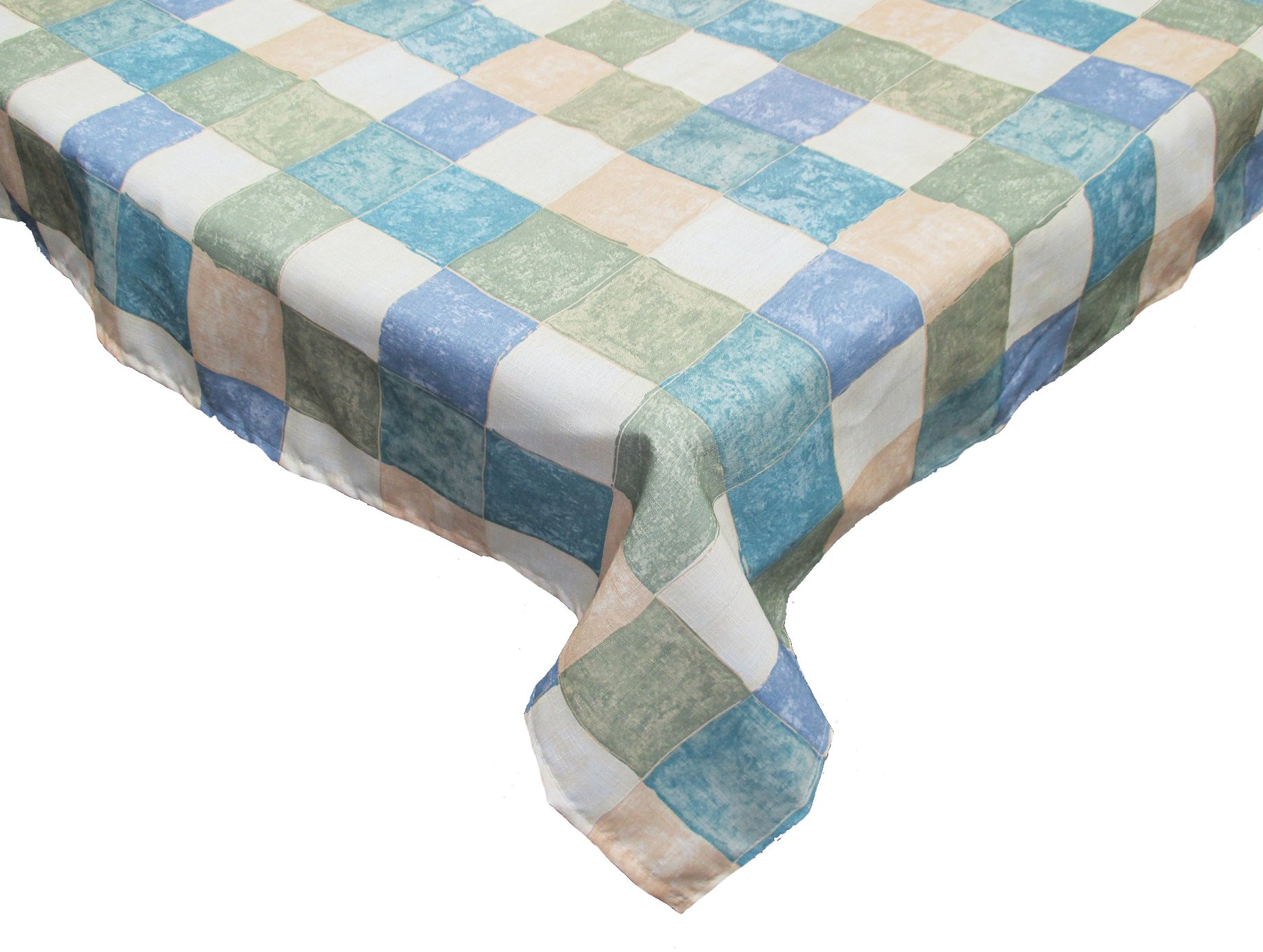Waterproof Spill Proof Checkered Vinyl Round Tablecloth with Flannel back,  60'',  Perfect for Spring, Summer, Farmhouse Décor, Outdoor Picnics & Potlucks Party or Everyday Use-Tiles