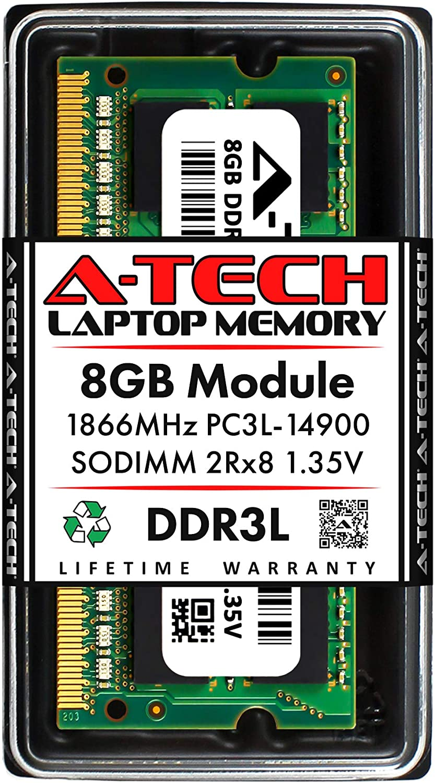 A-Tech 8GB DDR3 / DDR3L 1866MHz SODIMM PC3L-14900 2Rx8 Dual Rank 1.35V CL13 204-Pin Non-ECC Unbuffered Notebook Laptop RAM Memory Upgrade Module