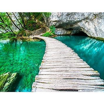 Fototapeten Brücke Wasser 352 x 250 cm Vlies Wand Tapete Wohnzimmer ...