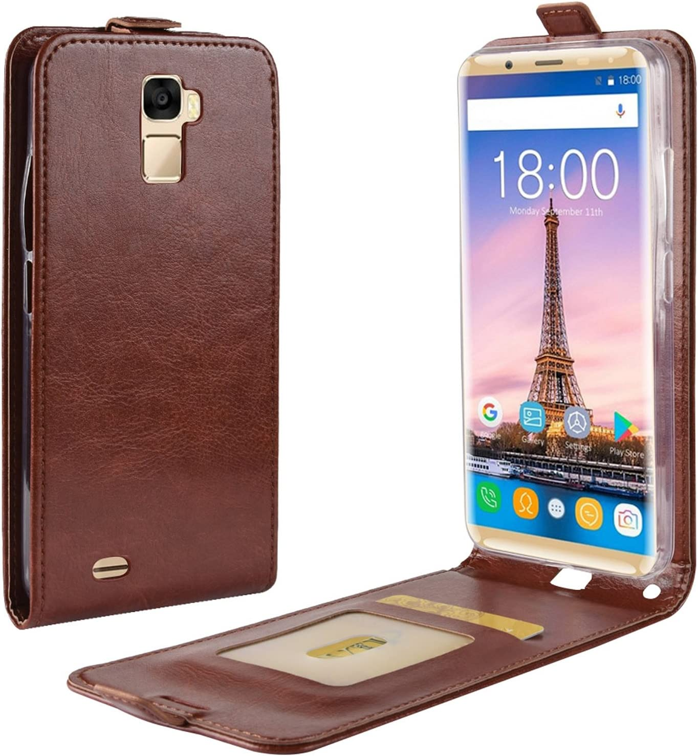 HualuBro Funda OUKITEL K5000, Premium PU Cuero Leather Piel Carcasa Flip Case Cover para Oukitel K5000 Smartphone (Marrón): Amazon.es: Electrónica