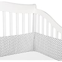 American Baby Company Cotton Percale Crib Bumper, Zigzag Grey, for Boys and Girls