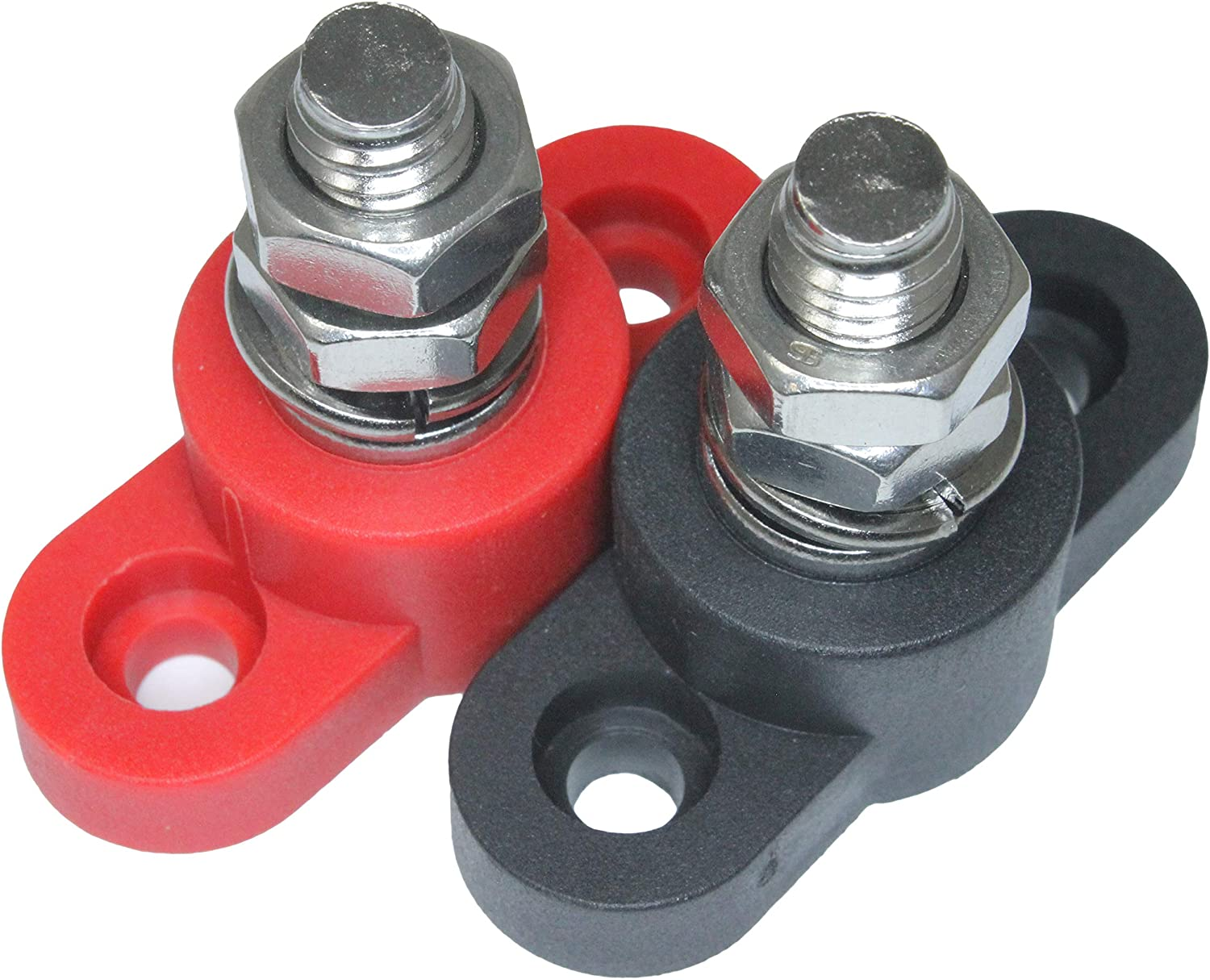 Positive Insulated Battery Power Junction Post Block 3/8 Lug X 16 thread (Red & Black Set): Automotive