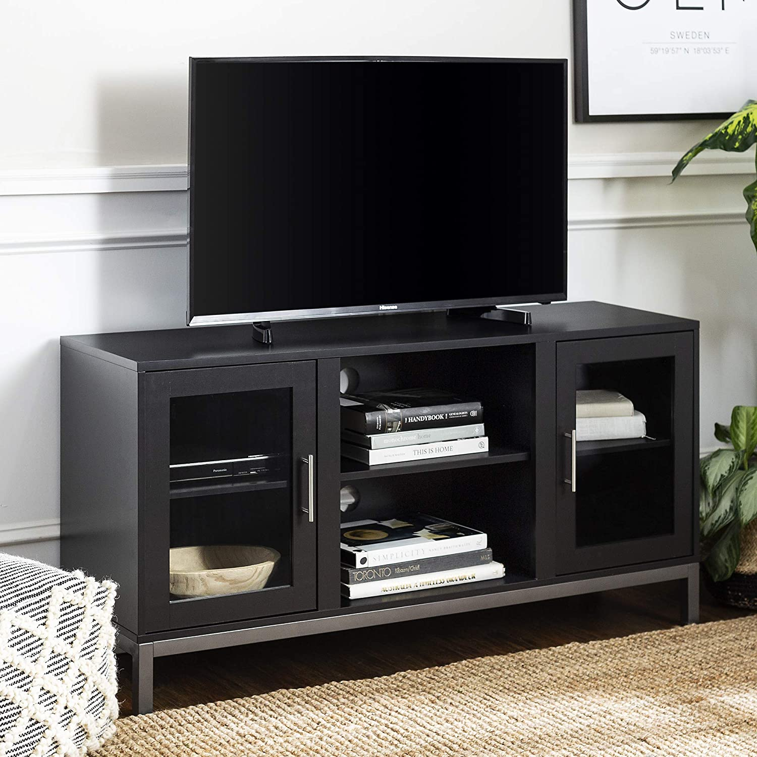 Walker Edison Furniture Az52av2dsb Modern Tv Stand With Storage For Tv S Up To 56 Living Room Storage Black Furniture Decor
