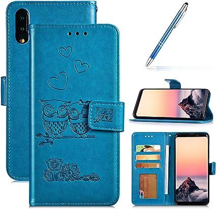 Robinsoni Fundas Compatible con Samsung Galaxy M20 Funda Libro Billetera Carcasa Cuero de PU Funda Folio Flip Funda Libreta Fundas con Tapa Cuero Monedero Funda 360 Grados para Galaxy M20 Funda Búho: