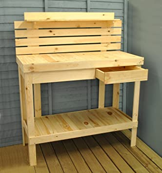 wooden potting table and garden work bench by selections - Garden Work Bench
