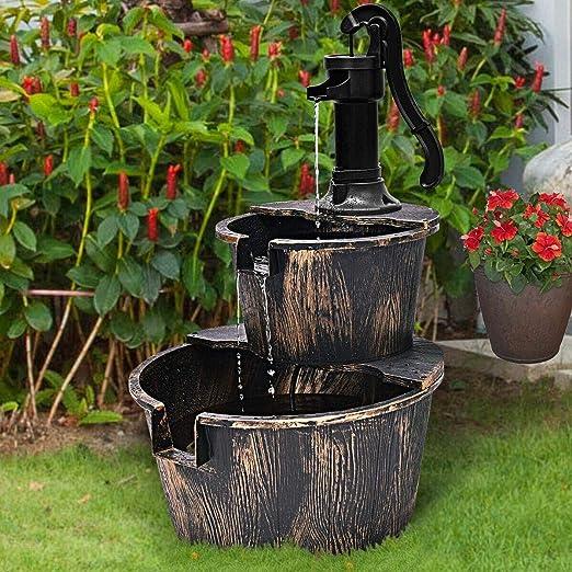 Gr8 - Fuente de agua eléctrica para jardín con efecto de madera de 2 niveles para cascada: Amazon.es: Jardín