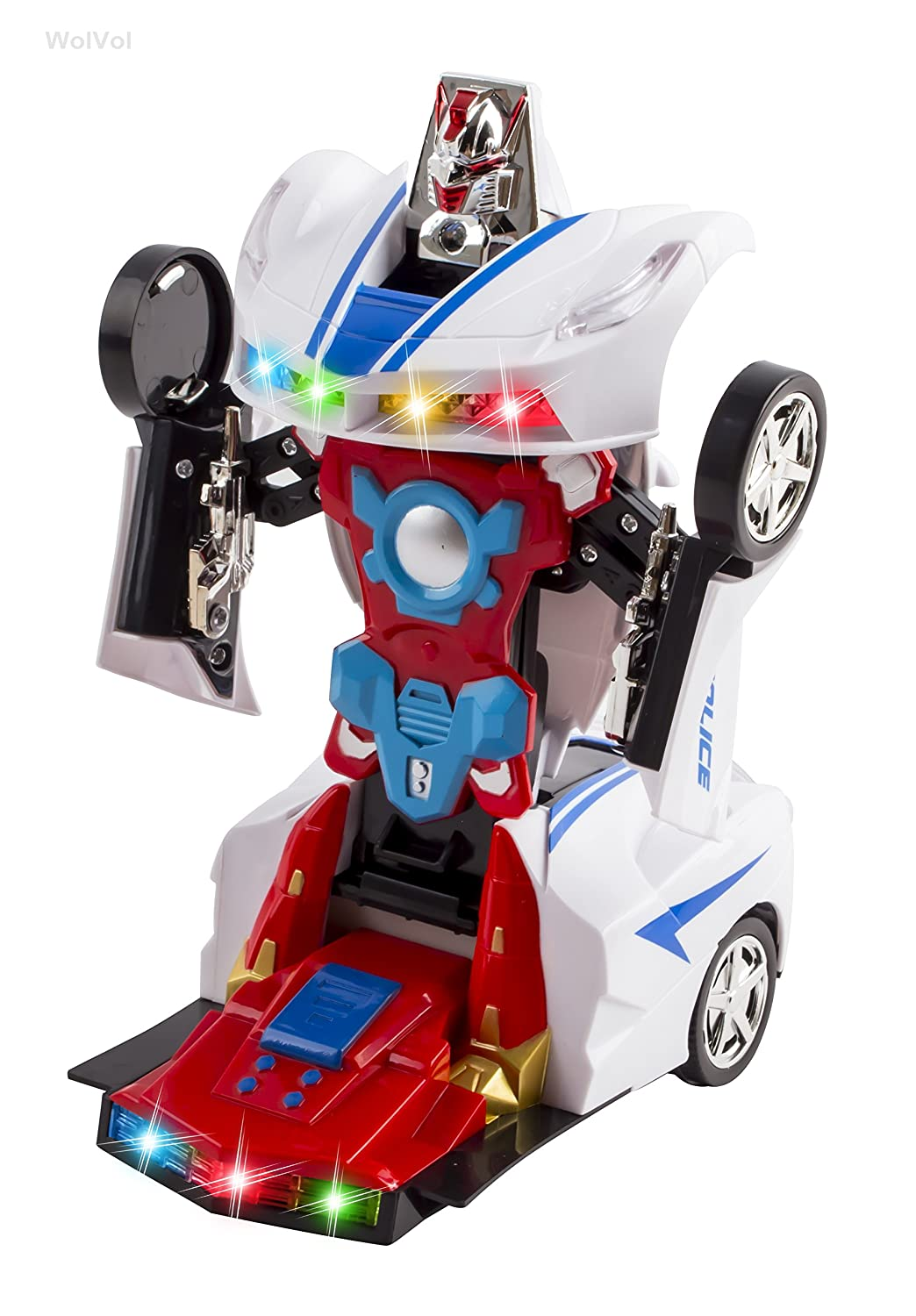 Buy WolVol Transformers Robot Police Car Toy with Lights and