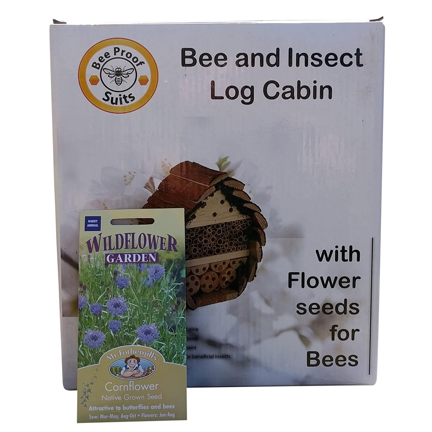 insect log cabin bee and bug home insect hotel with flower seeds for