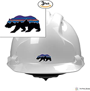 (3) Monte Fritz Roy Patagonia Bear Walking 2x1 Size inches Bumper Sticker Love Baby Laptop car Window Truck Adventure Outdoors - Made and Shipped in USA